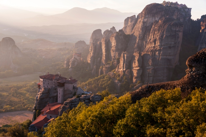 Greece-Meteora-Sunset-Monastery-Pink-II