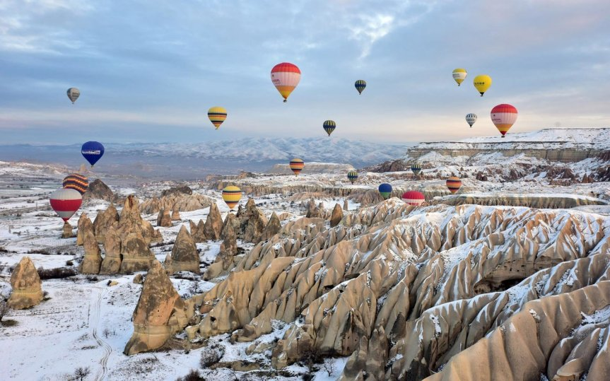 Winter Hot Air Balloons In Cappadocia